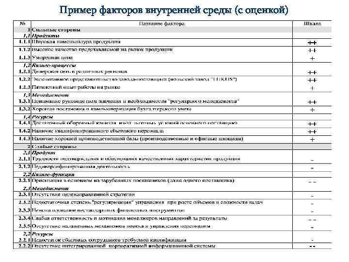 Пример факторов внутренней среды (с оценкой)