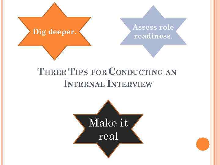 Assess role readiness. Dig deeper. THREE TIPS FOR CONDUCTING AN INTERNAL INTERVIEW Make it