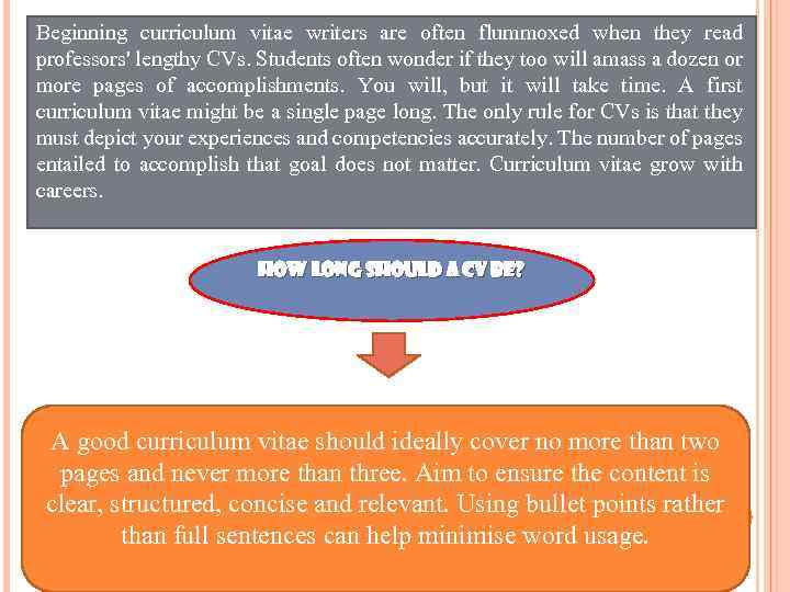 Beginning curriculum vitae writers are often flummoxed when they read professors' lengthy CVs. Students