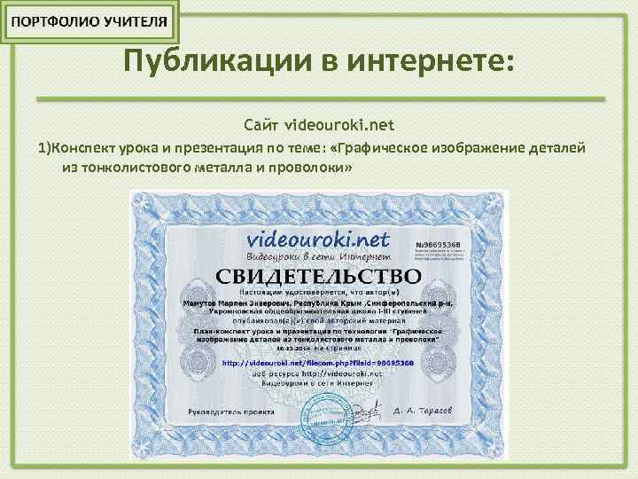 Публикации в интернете: Сайт videouroki. net 1)Конспект урока и презентация по теме: «Графическое изображение