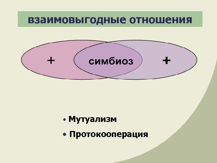 взаимовыгодные отношения • Мутуализм • Протокооперация