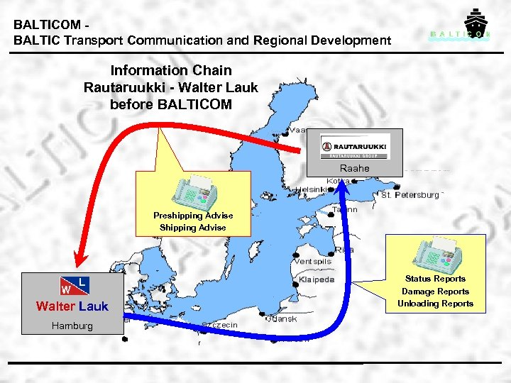 BALTICOM BALTIC Transport Communication and Regional Development Information Chain Rautaruukki - Walter Lauk before