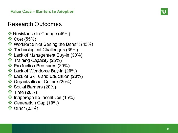 Value Case – Barriers to Adoption Research Outcomes v Resistance to Change (45%) v