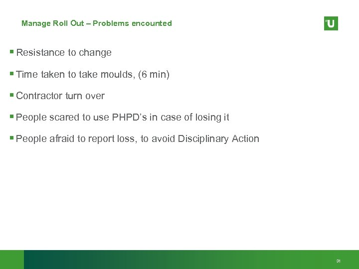 Manage Roll Out – Problems encounted § Resistance to change § Time taken to