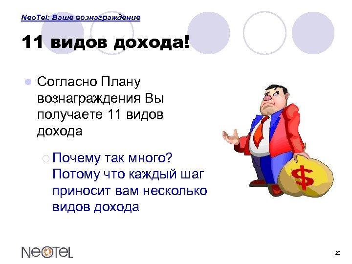 Neo. Tel: Ваше вознаграждение 11 видов дохода! l Согласно Плану вознаграждения Вы получаете 11