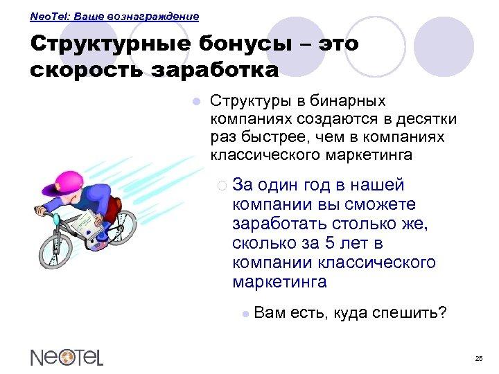 Neo. Tel: Ваше вознаграждение Структурные бонусы – это скорость заработка l Структуры в бинарных