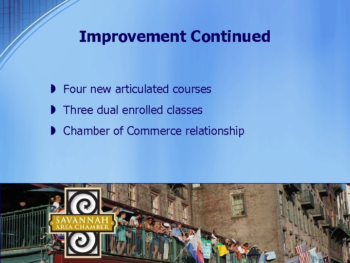 Improvement Continued » Four new articulated courses » Three dual enrolled classes » Chamber