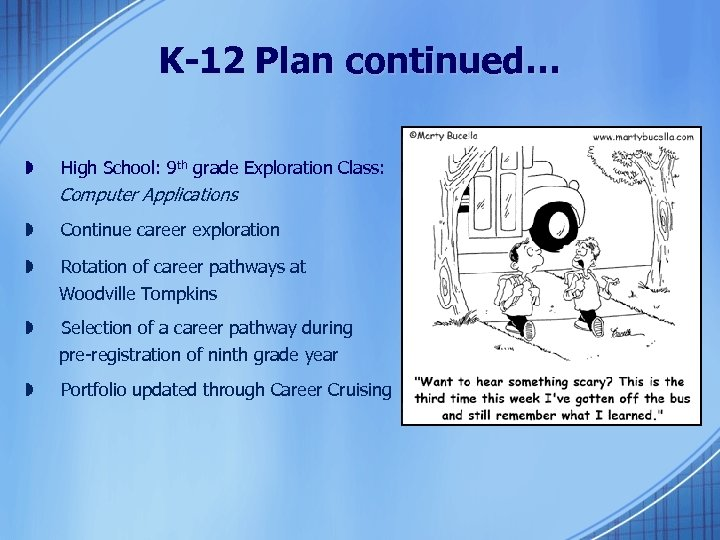 K-12 Plan continued… » High School: 9 th grade Exploration Class: Computer Applications »