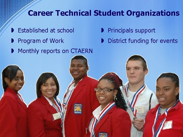 Career Technical Student Organizations » Established at school » Principals support » Program of