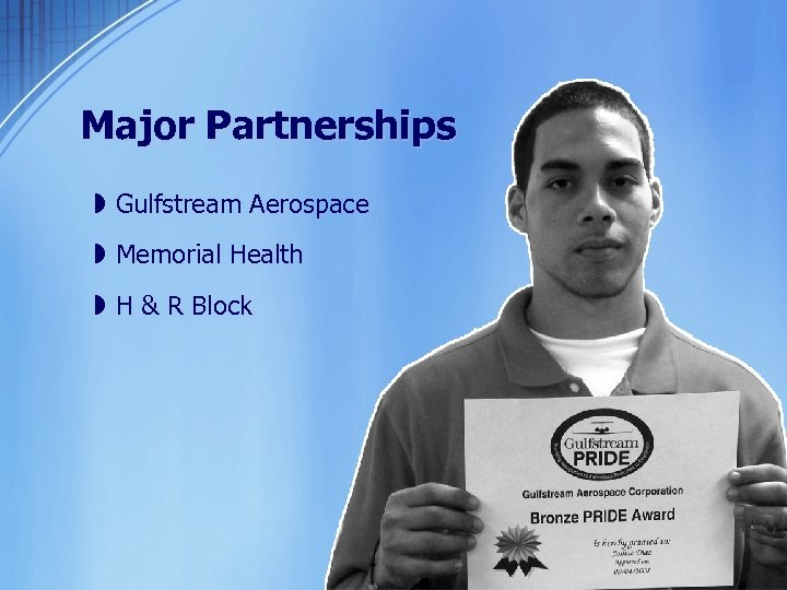 Major Partnerships » Gulfstream Aerospace » Memorial Health » H & R Block