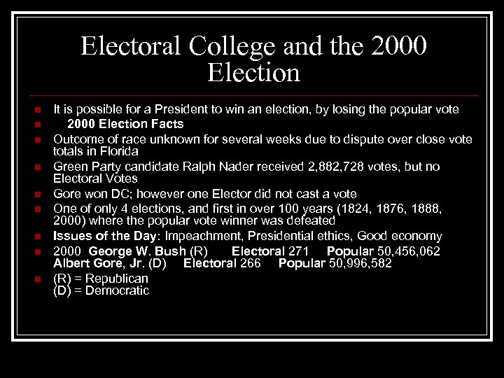 Electoral College and the 2000 Election n n n n It is possible for