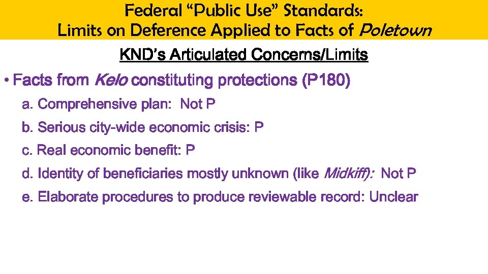 "Federal ""Public Use"" Standards: Limits on Deference Applied to Facts of Poletown KND's Articulated"