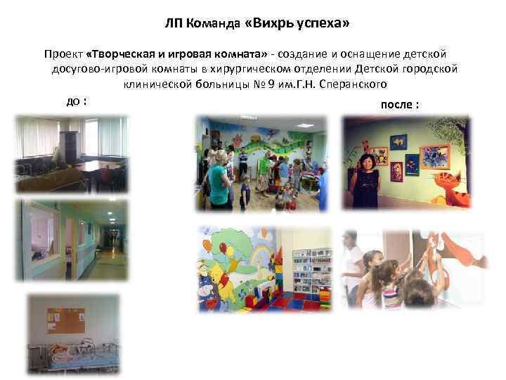 ЛП Команда «Вихрь успеха» Проект «Творческая и игровая комната» - создание и оснащение детской