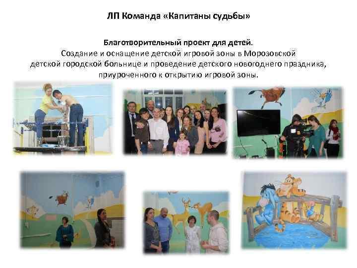 ЛП Команда «Капитаны судьбы» Благотворительный проект для детей. Создание и оснащение детской игровой зоны