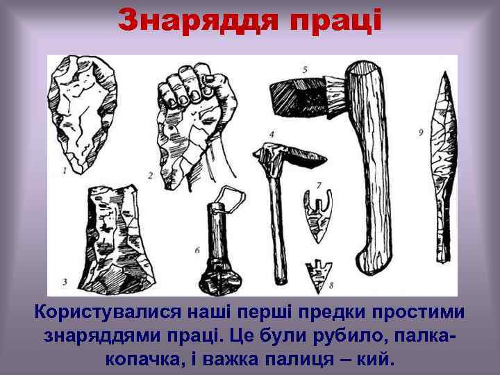 Знаряддя праці Користувалися наші перші предки простими знаряддями праці. Це були рубило, палкакопачка, і
