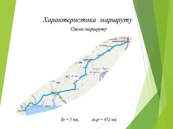 Характеристика маршруту Схема маршруту Маршрут «Миколаїв - Київ» lо = 7 км, lн-р =