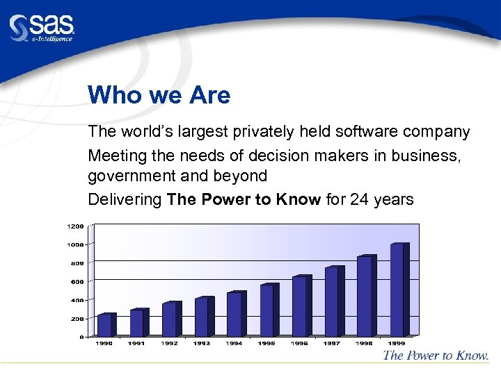 Who we Are The world's largest privately held software company Meeting the needs of