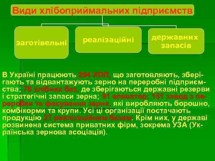 Види хлібоприймальних підприємств заготівельні реалізаційні державних запасів В Україні працюють 204 ХПП, що заготовляють,