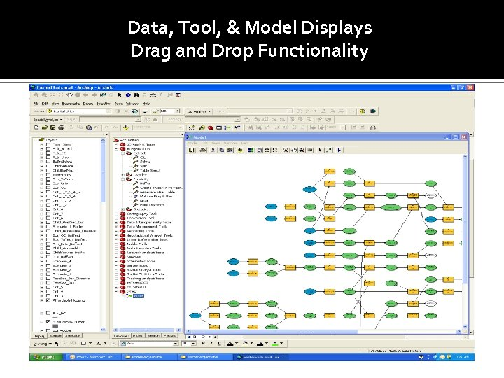 Data, Tool, & Model Displays Drag and Drop Functionality