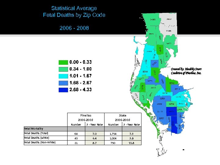 Statistical Average Fetal Deaths by Zip Code 2006 - 2008 Created by: Healthy Start