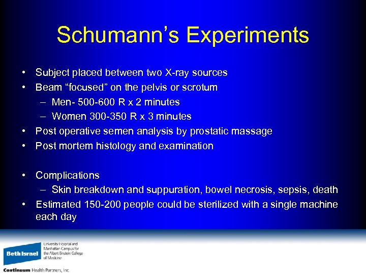 """Schumann's Experiments • Subject placed between two X-ray sources • Beam """"focused"""" on the"""