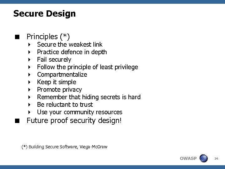 Secure Design < Principles (*) 4 4 4 4 4 Secure the weakest link