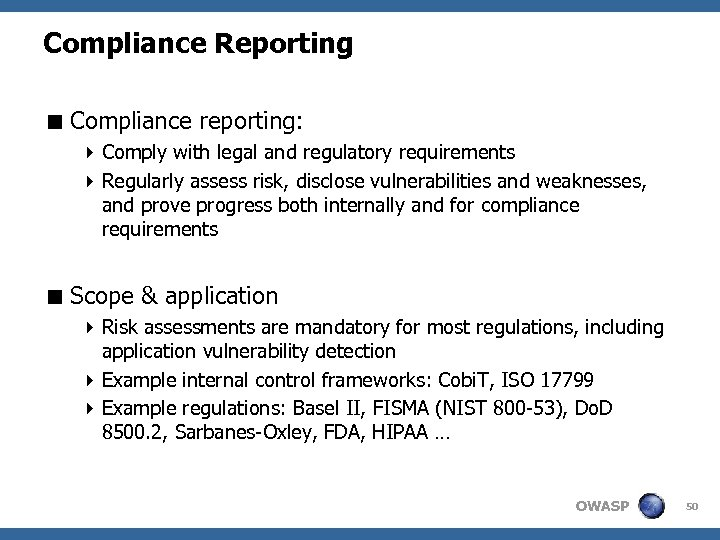 Compliance Reporting < Compliance reporting: 4 Comply with legal and regulatory requirements 4 Regularly