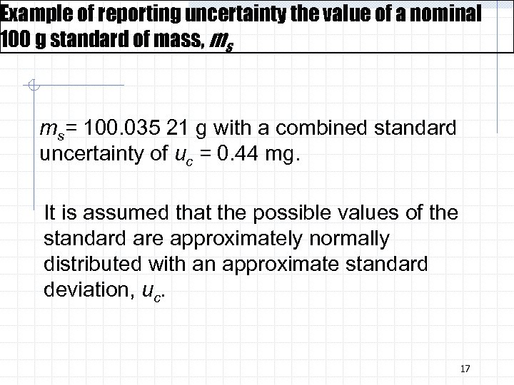 Example of reporting uncertainty the value of a nominal 100 g standard of mass,