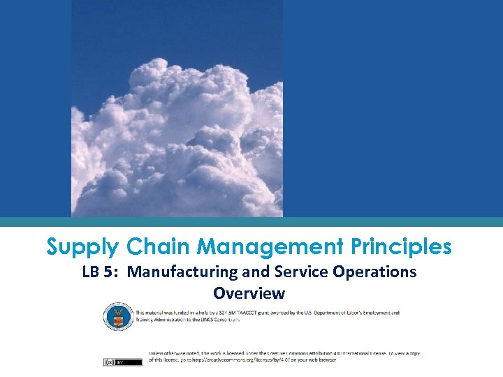 Supply Chain Management Principles LB 5: Manufacturing and Service Operations Overview