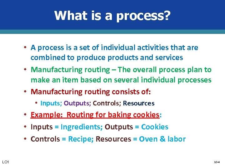 What is a process? • A process is a set of individual activities that