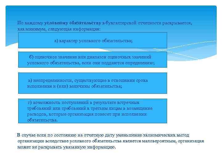 По каждому условному обязательству в бухгалтерской отчетности раскрывается, как минимум, следующая информация: а)