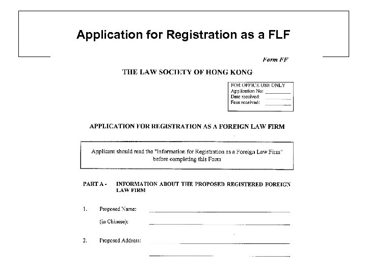 Application for Registration as a FLF