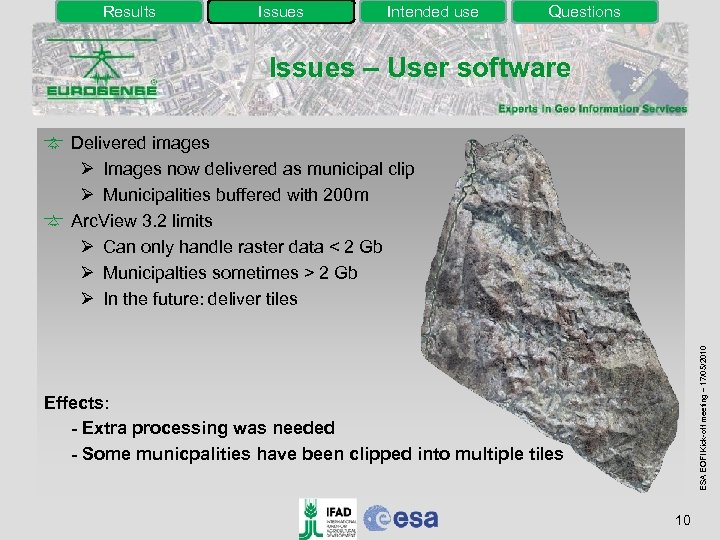 Results Issues Intended use Questions Issues – User software ESA EOFI Kick-off meeting –