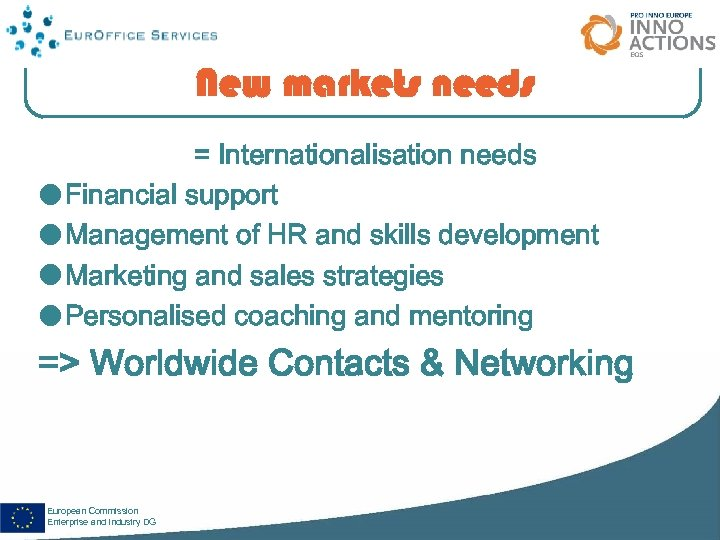 New markets needs = Internationalisation needs Financial support Management of HR and skills development