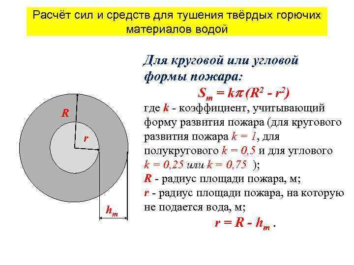 Расчёт сил и средств для тушения твёрдых горючих материалов водой Для круговой или угловой