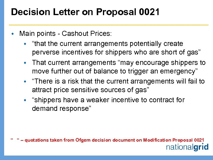 "Decision Letter on Proposal 0021 w Main points - Cashout Prices: w ""that the"
