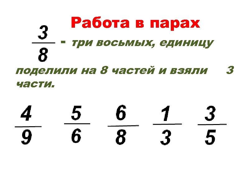 - Работа в парах три восьмых, единицу поделили на 8 частей и взяли части.