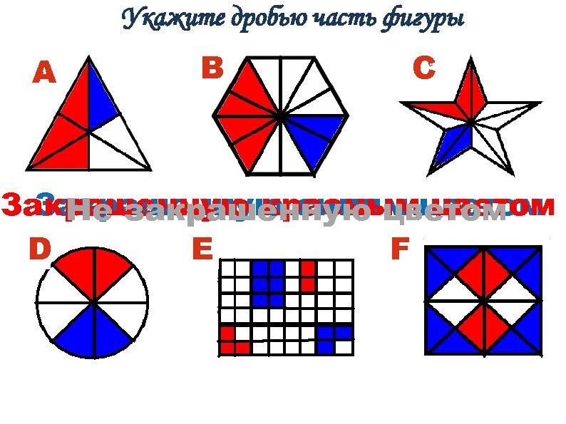 Укажите дробью часть фигуры А B C Закрашенную краснымцветом Закрашенную синим цветом Не закрашенную