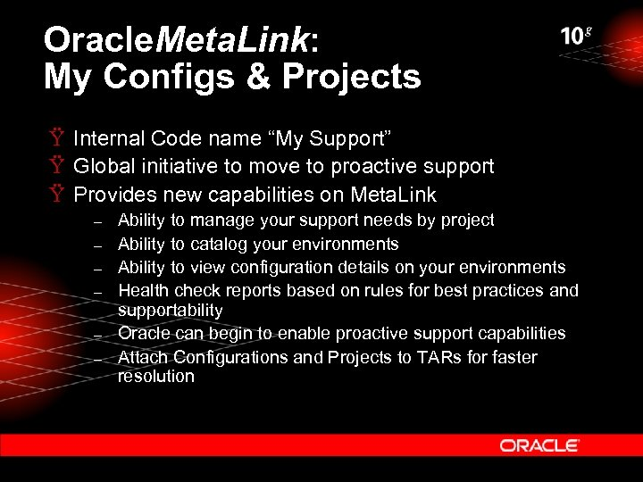 """Oracle. Meta. Link: My Configs & Projects Ÿ Internal Code name """"My Support"""" Ÿ"""