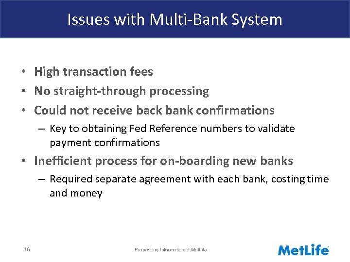 Issues with Multi-Bank System • High transaction fees • No straight-through processing • Could
