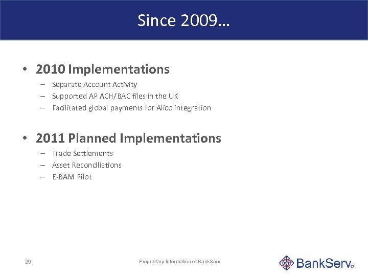 Since 2009… • 2010 Implementations – Separate Account Activity – Supported AP ACH/BAC files