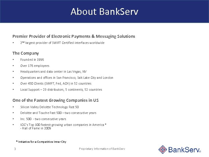About Bank. Serv Premier Provider of Electronic Payments & Messaging Solutions 2 nd largest