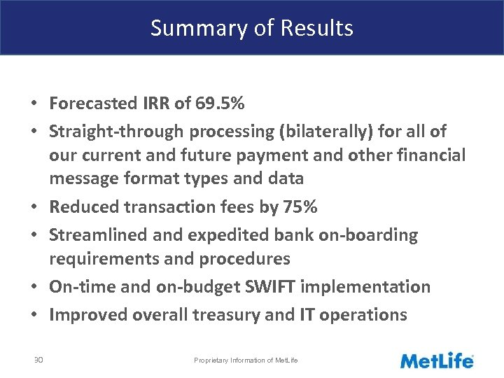 Summary of Results • Forecasted IRR of 69. 5% • Straight-through processing (bilaterally) for
