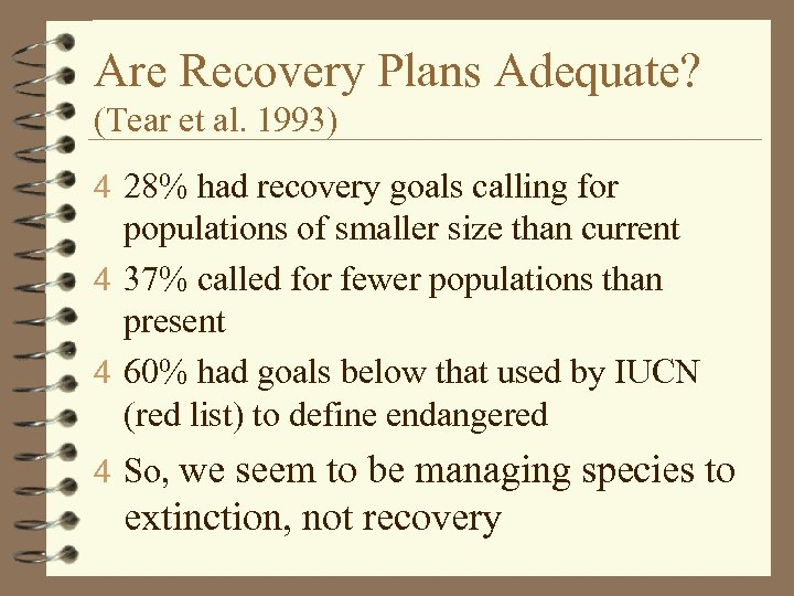 Are Recovery Plans Adequate? (Tear et al. 1993) 4 28% had recovery goals calling