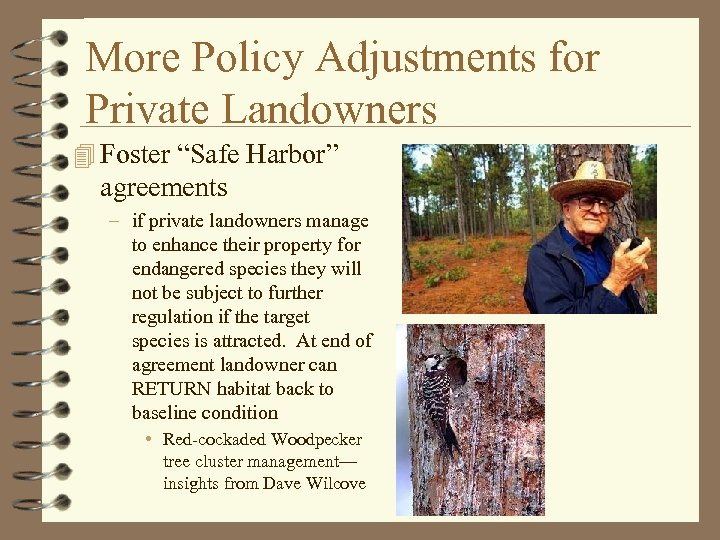 """More Policy Adjustments for Private Landowners 4 Foster """"Safe Harbor"""" agreements – if private"""
