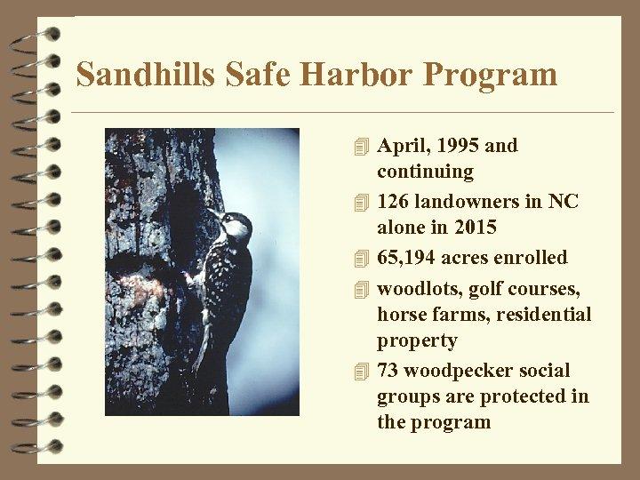 Sandhills Safe Harbor Program 4 April, 1995 and 4 4 continuing 126 landowners in