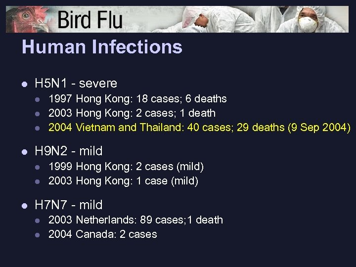 Human Infections l H 5 N 1 - severe l l H 9 N