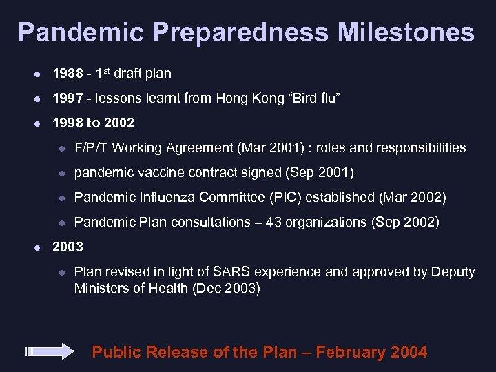 Pandemic Preparedness Milestones l 1988 - 1 st draft plan l 1997 - lessons
