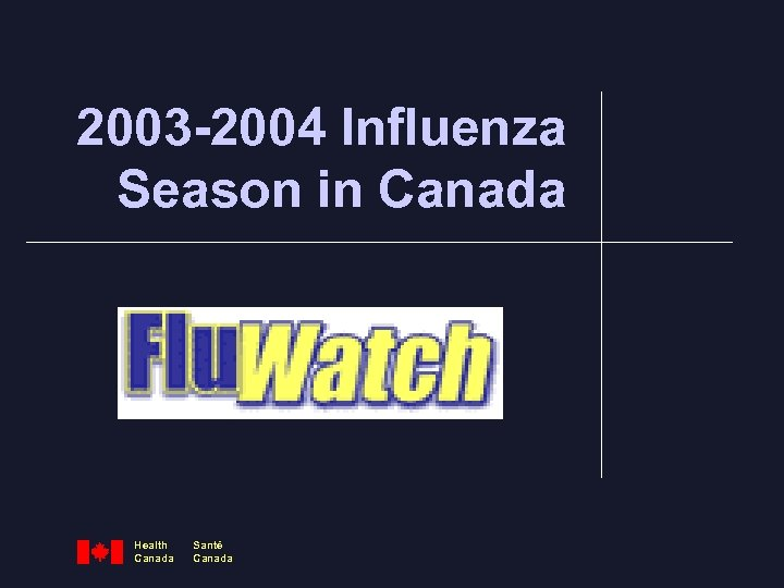 2003 -2004 Influenza Season in Canada Health Canada Santé Canada